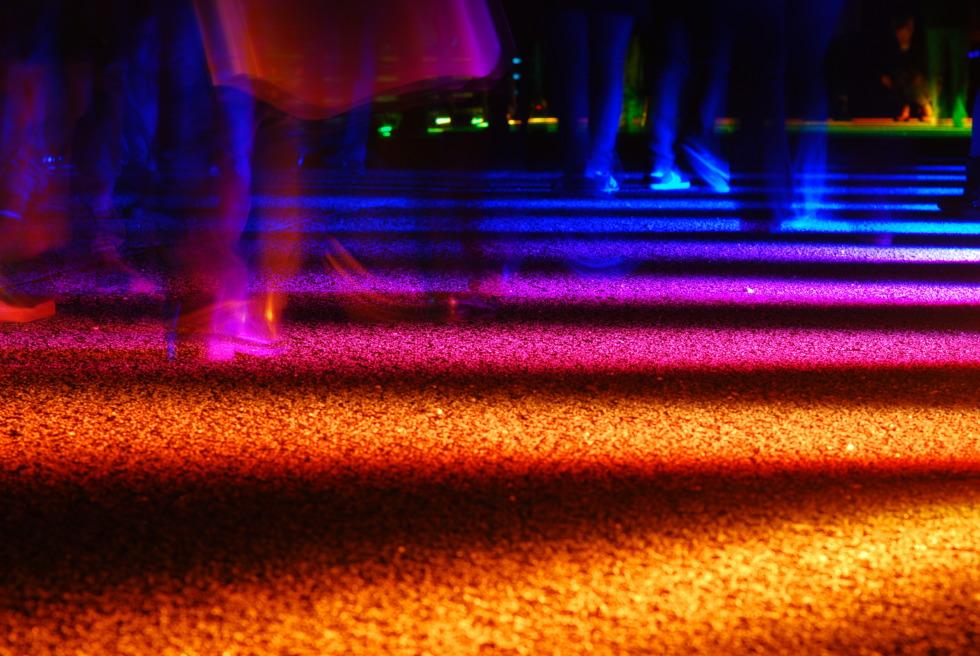 Colorful light stripes on the ground at Parkleuchten