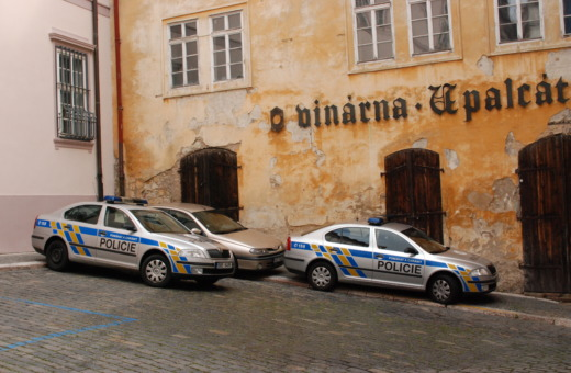 Czech police cars in Prague's old town