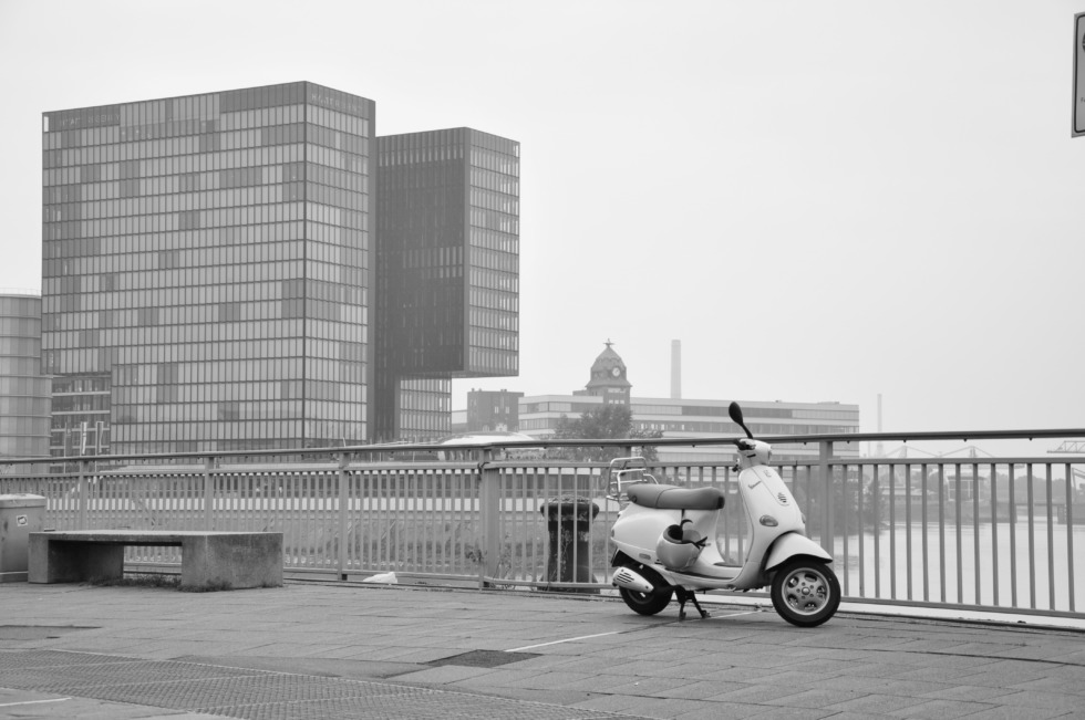 Scooter in front of Hyatt hotel at Medienhafen Düsseldorf