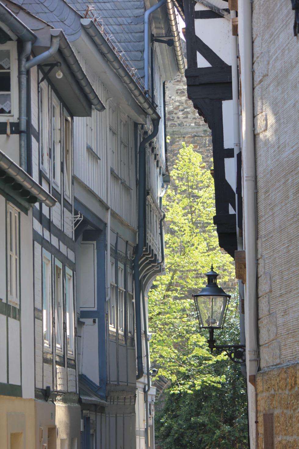 Small alleyway between half-timbered houses in Goslar