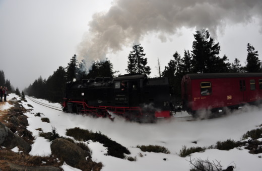 Steam loco at Brocken mountain in Harz