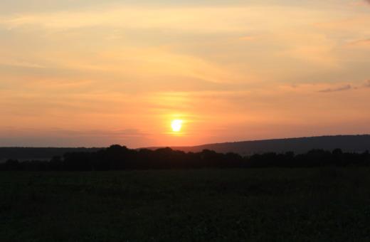 Sundown over Harz mountains