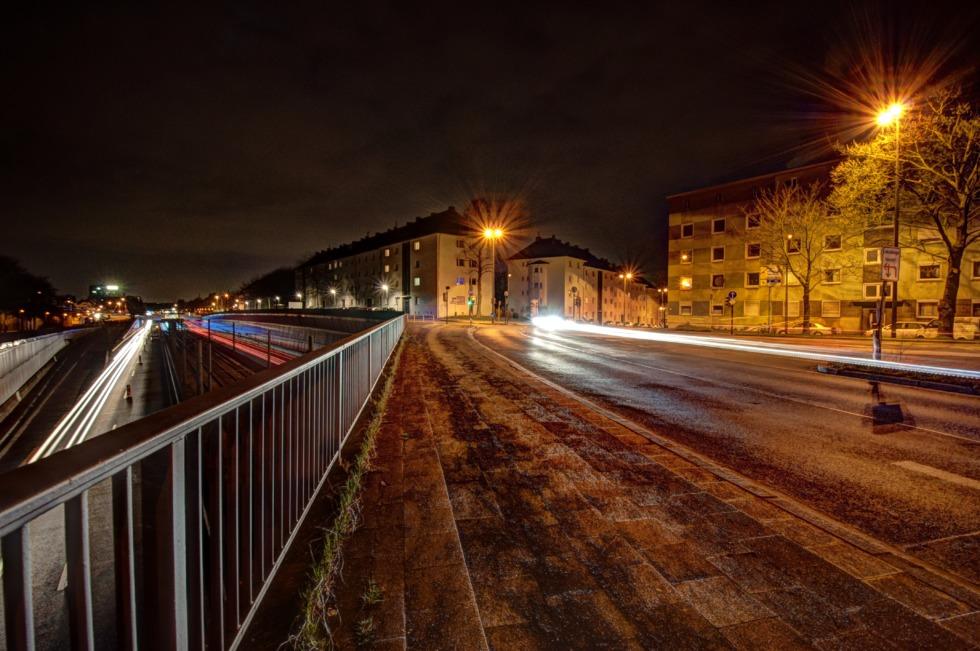Autobahn A40 at night in Essen