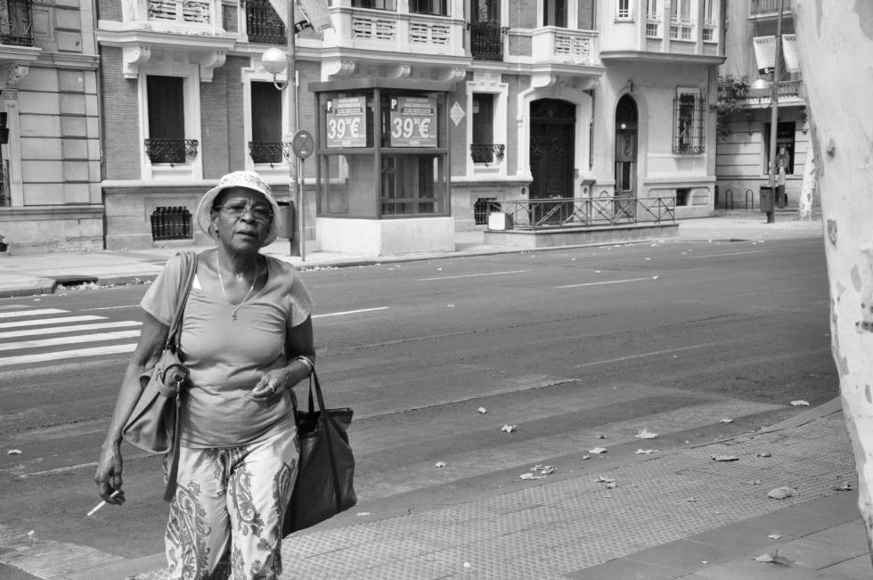 Black lady in Madrid
