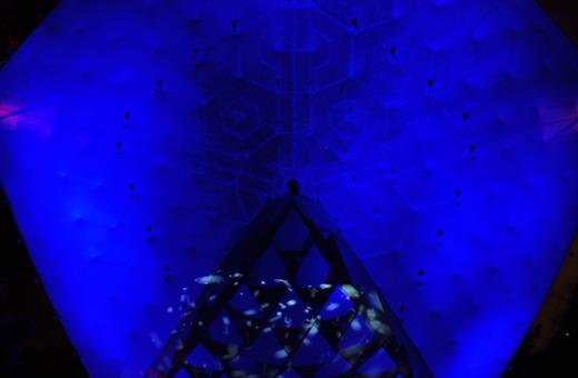 Light-installation at Gruga Park's music pavillion
