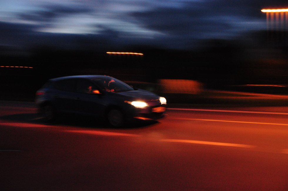 Speedy car at night