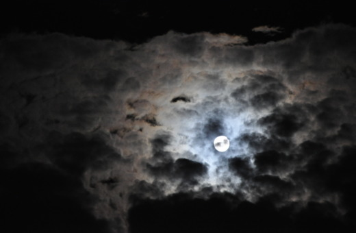 Full moon behind the clouds