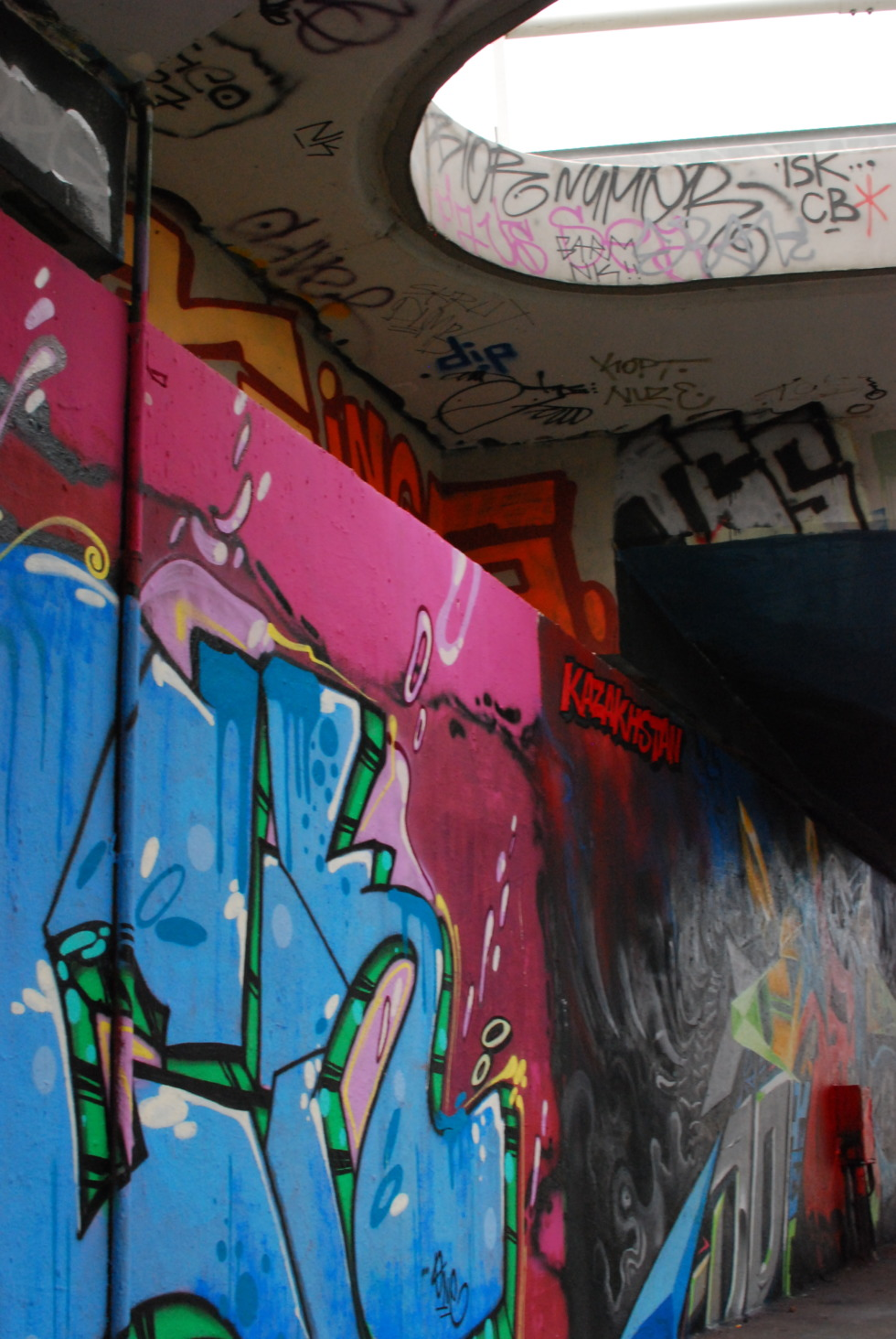 Graffiti on public graffiti wall in Prague