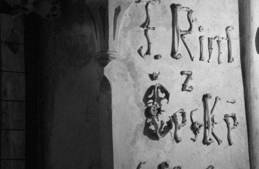 Lettering made of bones in Kutná Hora's ossuary