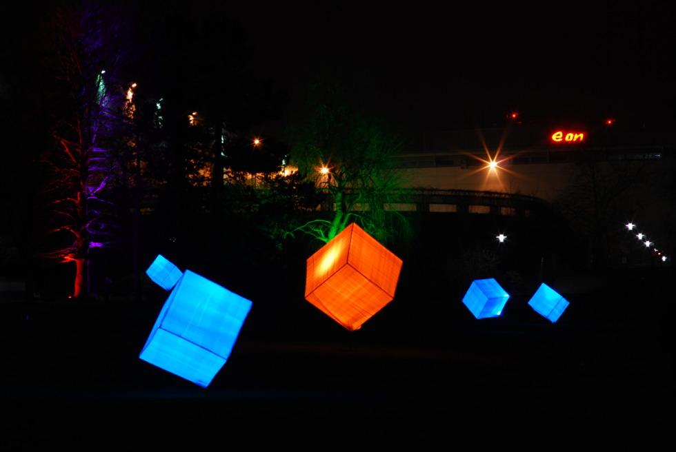 Lit-up cubes in Gruga Park, Essen, Germany