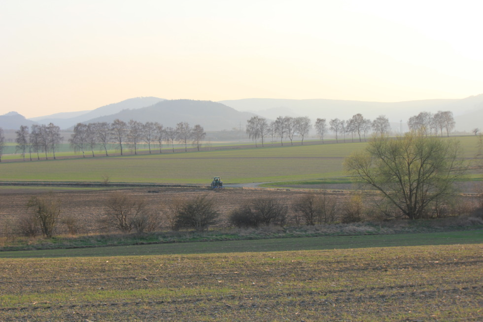 View over fields onto the Harz mountains