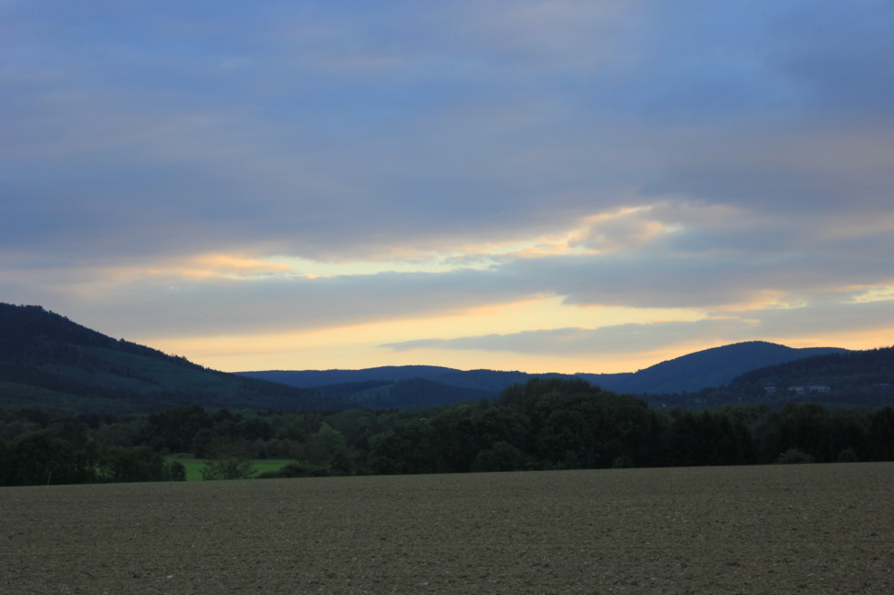 Evening mood in front of harz mountains