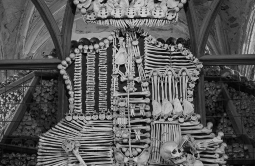 Sculpture out of bones in Kutna Hora