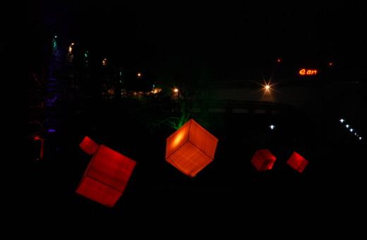 Lit up cubes in Gruga Park