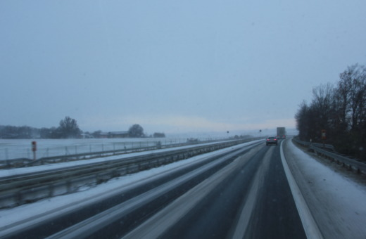 German Autobahn in winter