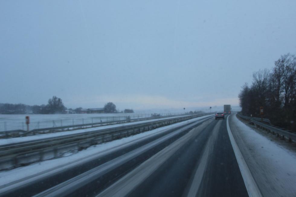 German Autobahn in winter