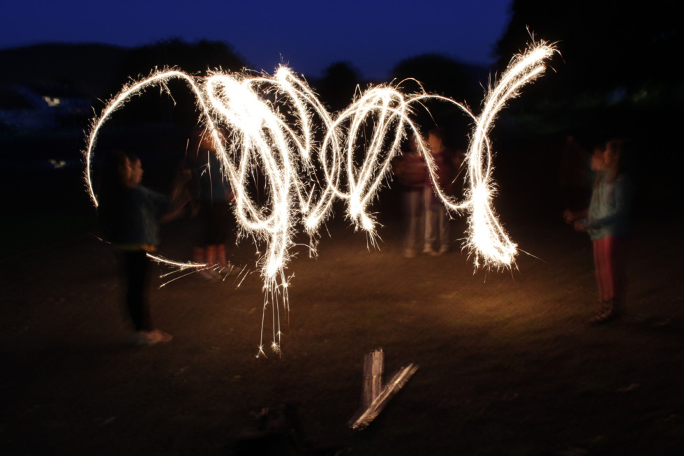 Kids do light painting with sparklers