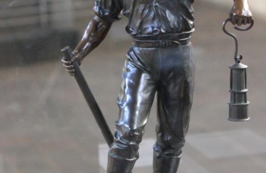 Bronze sculpture of a digger at Rammelsberg mining museum