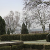 Cemetery in Bredelem with morning frost