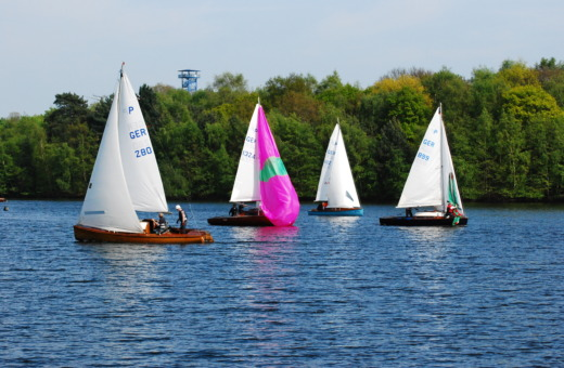 Four sailing boats on a lake in Duisburg