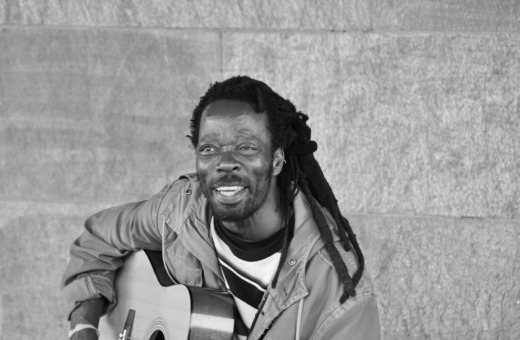 Portrait of a street musician in Cologne