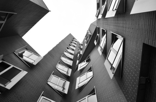 View up at Gehry building in Düsseldorf